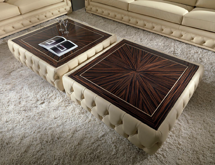 Tufted Leather Coffee Table With Wood